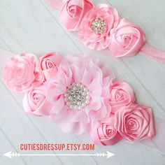 Pregnancy sash with matching headband  , meternaty sash belt , belly belt , ribbon belt , flower belt on Etsy, $32.00