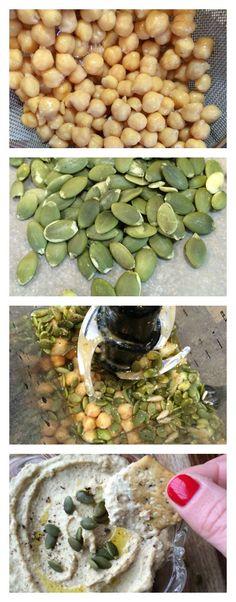 Seed Hummus Raw Pumpkin Seed Hummus has a light nutty flavor and filled with great nutrition.Raw Pumpkin Seed Hummus has a light nutty flavor and filled with great nutrition. Raw Vegan Recipes, Vegan Foods, Vegan Snacks, Vegan Vegetarian, Diet Recipes, Healthy Snacks, Vegetarian Recipes, Healthy Eating, Cooking Recipes