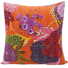COWGIRL GYPSY DECOR Multi Color Floral Stitched ORANGE Kantha Pillow Cover  www.cowgirlsuntamed.com