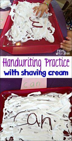 Fine Motor Skills - Fine Motor Practice with Shaving Cream. Kids have sensory fun while strengthening their writing skills!
