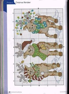 Reindeer Games, chart (Please see 4/4E for colour chart), page 3/4E. Note: Cross stitch each deer separately for cards.