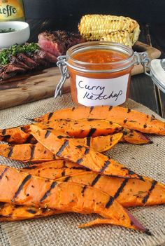 Grilled sweet potato wedges with curry ketchup