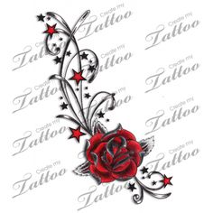 Marketplace Tattoo Red Rose, Stars & Swirls Tattoo #4935 | CreateMyTattoo.com