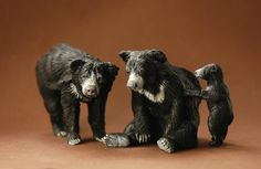 Sloth Bear family 1:22 scale - made by Harriet Knibbs Sculptures Ltd
