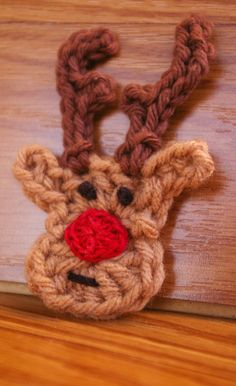 Crocheted Rudy the Reindeer Hair Clip or Brooch pin - Inspiration