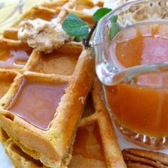 Pumpkin Waffles with Apple Cider Syrup - Allrecipes.com