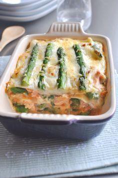 Lasagnes de saumon aux asperges vertes - Envie de Bien Manger http://www.enviedebienmanger.fr/fiche-recette/recette-lasagnes-de-saumon-aux-asperges-vertes #gratin #printemps #cheese