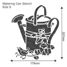 Watering Can Stencil - Buy reusable wall stencils online at The Stencil Studio.
