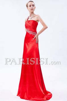 Sweep elastisch A-Line Schulter Kristalls/Rüsche/Sequins  Romantik Promi Kleider