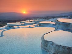 The stacked pools in Pamukkale are usually surrounded by snow and frozen waterfalls, but the blue waters are hot and open to bathers. You'll never be satisfied with your hotel's infinity pool again.