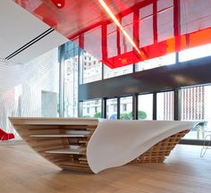 SLO_Gen Table The SLO_Gen Table is a remarkable piece of innovation in the field of furniture design. The organic design is made using HI-MACS and has become the focal point of Gensler's Los Angeles office lobby!  Designer: Cal Poly, San Luis Obispo, Department of Architecture, College of Architecture and Environmental