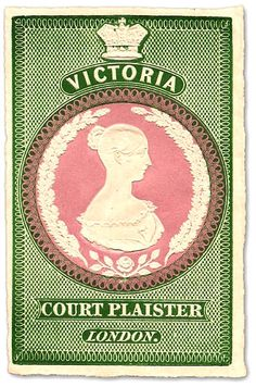 """Image of Queen Victoria on front of sticking plaster packet_""""Sticking-plaster made of silk (black, flesh-coloured, or white) coated with isinglass, used for covering superficial cuts and wounds."""" So called from its being used for the black patches formerly worn on the face by ladies at Court."""