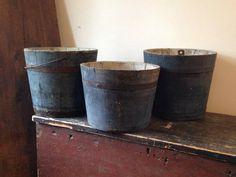 RARE primitive BLUE Wooden Maple Sap Bucket