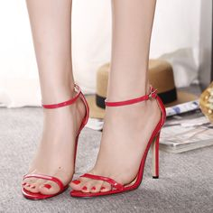 New Summer Womens High Heels Ankle Strap Buckle Sandals Stiletto Partywear Shoes High Heels Gold, Super High Heels, Black High Heels, High Heels Stilettos, Womens High Heels, Stiletto Heels, Shoes Heels, Sandal Heels, Woman Shoes High Heels
