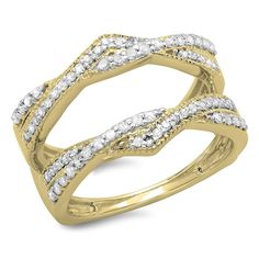 0.45 Carat (ctw) 14K Gold Round Cut Diamond Ladies Wedding Band Swirl Enhancer Guard Double Ring 1/2 CT -- Insider's special review you can't miss. Read more  : Jewelry Ring Enhancers