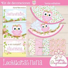 Kit de decoraciones Lechucitas Ideas Para Fiestas, Baby Owls, Party Packs, Holidays And Events, Birthday Invitations, First Birthdays, Baby Shower, Kids Rugs, Creative