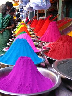 Dye pigments in a Market, Madurai, India by Dr JD, via Flickr