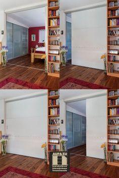 Diese schwere Schiebetür wird hier als große Schlafzimmertüre verwendet und wird somit zu einem Raumtrenner. Versorgt hinter dem Bücherregal auf der rechten Seite kann so jeden MOrgen für ein gänzlich neues Raumgefühl gesorgt werden. Vorbei sind die Tage der schmalen Türdurchgänge. Hallo offenes Wohnen. Loft, Bed, Furniture, Home Decor, Acre, Shelf, Architecture, Decoration Home, Stream Bed