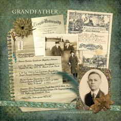 Memories In Time - Digital Scrapbooking - Family History. The diagonal line of photos draws you through this layout by sandygb. Products: Whispered Nothings Value Collection by Lauren Bavin