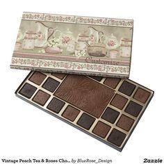 Vintage Peach Tea & Roses Chocolate Box 45 Piece Box Of Chocolates Chocolate Gifts, Chocolate Box, Seashell Chocolates, Black Rose Flower, Year Of The Monkey, Blue Sparkles, Mandala Pattern, Mandala Coloring, Tea Roses