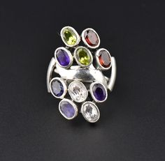 Multi Gemstone Silver Statement Ring, Garnet Tanzanite #intage #Sterling #Ring #Garnet #Silver #Peridot #Friendship #Rolled #Monogram #Plique
