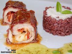 Pollo relleno de tomate y mozzarella con arroz al vino ☆☆
