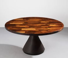 """Round """"Guanabara"""" Table by Jorge Zalszupin with Brown Leather Pedestal Base 