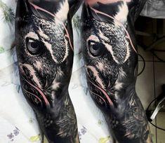 Owl tattoo by Dmitriy Gorbunov