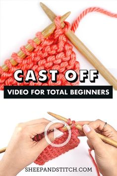 Learn how to cast off knitting in this detailed post Watch a step-by-step video tutorial or learn through a photo tutorial You ll cast off in no time Fun fact casting off is also called bind off sheepandstitch knitting castoff knit Casting Off Knitting, Knitting Terms, Beginner Knitting Patterns, Knitting Basics, Easy Knitting, Knitting For Beginners, Knitting Charts, Knitting Stitches, Knitting Tutorials