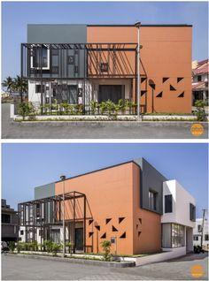 Modern Bungalow, Modern Loft, Courtyard House, Facade House, Exterior Design, Interior And Exterior, Modern House Design, Modern Houses, Building Elevation
