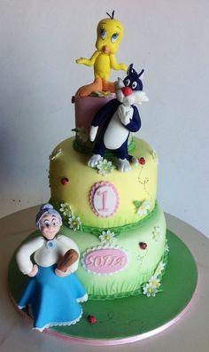 Cake Titti Cake by Sabrinup Fondant Cakes, Cupcake Cakes, Cupcakes, Baby Cakes, Cake Decorating With Fondant, Cookie Decorating, Bird Birthday Parties, Birthday Cake, Tweety Cake
