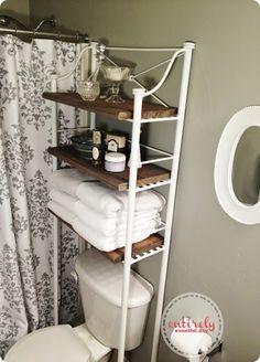 diy etagere makeover inspired by restoration hardware --to make bathroom shelves look more expensive...