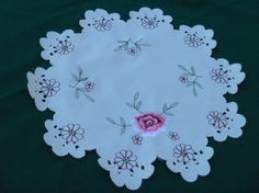 IVORY TABLE DOILY With Rose Embroidery by EauPleineVintage on Etsy, $12.00