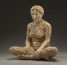 """PAUSE"". Another strikingly beautiful  sculpture from Adrian Arleo. Clay, glaze, wax encaustic."