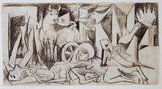 Picasso, Estudio de composición para «Guernica» (VII). Dibujo preparatorio para «Guernica»