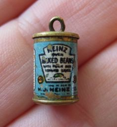 VINTAGE 30's HEINZ BAKED BEANS Brass Metal Miniature Tin Can Charm