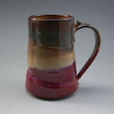 Pottery  Mug Large Plum Red Brown porcelain by Mark Hudak