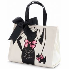 """My Flat in London...On the back of the handbag it says, """"You Can Never Be Overdressed or Underdressed in a Little Black Dress"""".   Sloane Square Tote  available at #Brighton"""