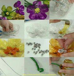 Flores de botellas pet.