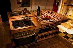 DIY Kitchen Island Of Pallets