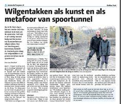 Krantenbericht over de wilgentakken van de Delftse Proeftuin.