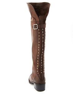 Stud-Back Thigh-High Boot: Charlotte Russe