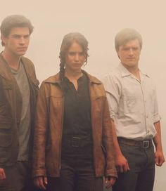 Hunger Games- Gale- Liam Hemsworth, Katniss- Jennifer Lawrence, and Peeta- Josh Hutcherson.