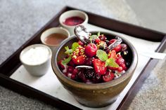 #Patbingsu #팥빙수 - shaved ice #dessert with fresh fruits, red beans and rice cakes enjoyed by #Koreans during the #summer season.