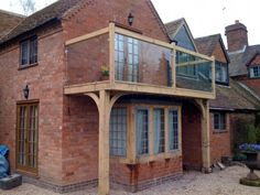 Green Oak Balcony and Windows - Traditional Conservatories House With Balcony, House Deck, House Front, External Staircase, Juliette Balcony, Balcony Design, Balcony Ideas, Conservatory Design, Glass Balcony