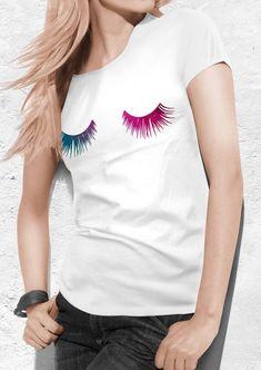 Eyelashes tshirt Colorful Eyelashes t shirt Eye by quoteshirt Shirt Packaging, T Shirt Diy, Tee Shirt, Cool Graphic Tees, Crochet Shirt, White Shirts, Eyelashes, Shirt Designs, T Shirts For Women
