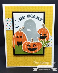 Melissa's cute card: Fall Fest & its framelits, Holiday Invitation, Motley Monsters dsp, Fringe Scissors, & more. All supplies from Stampin' Up!