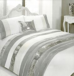 Glitterati White Embellished Duvet Set With Silver Sequin Bands For Double Bed In Home Furniture