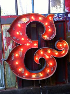 handmade marquee ampersand from white electric