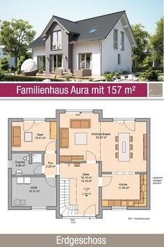 Family house – floor plan 157 m² – 6 rooms – ground floor – The World Farmhouse Plans, Apartment Design, House Floor Plans, Detached House, Ground Floor, Modern Architecture, House Design, Flooring, How To Plan